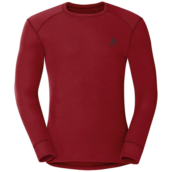 Men's ACTIVE WARM Long-Sleeve Base Layer Top, red dahlia, large
