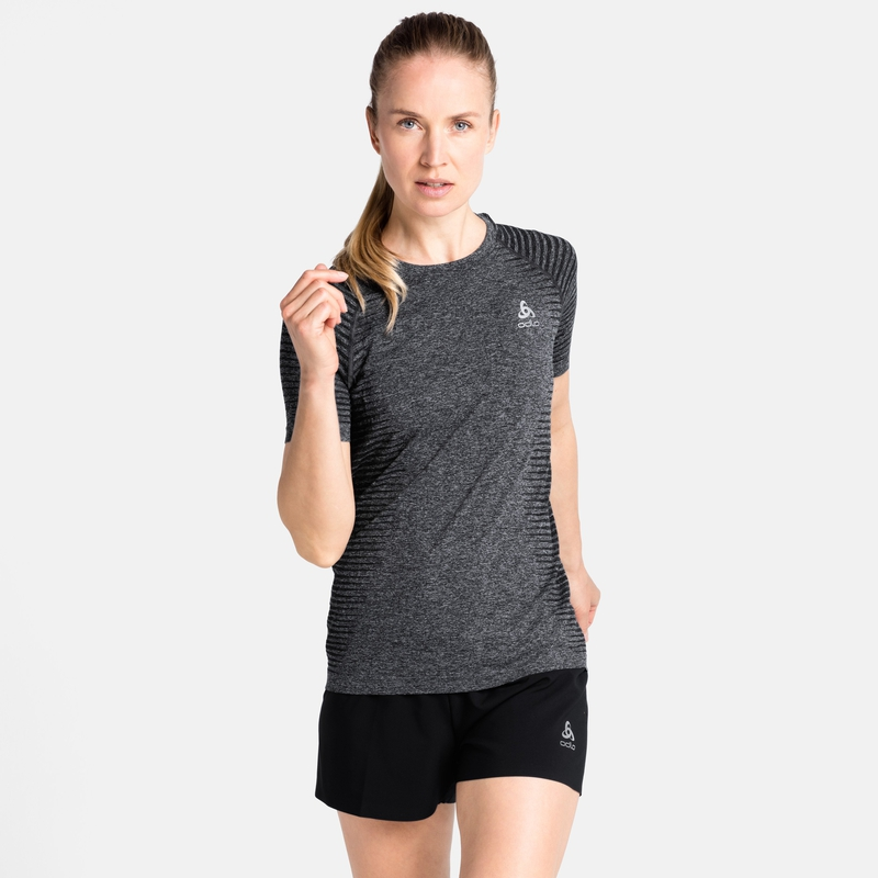 Damen ESSENTIAL SEAMLESS T-Shirt, grey melange, large