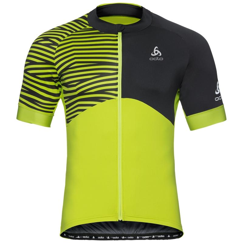 Shirt met opstaande kraag s/s EN volledige rits UMBRAIL Ceramicool X-Light, acid lime - black, large
