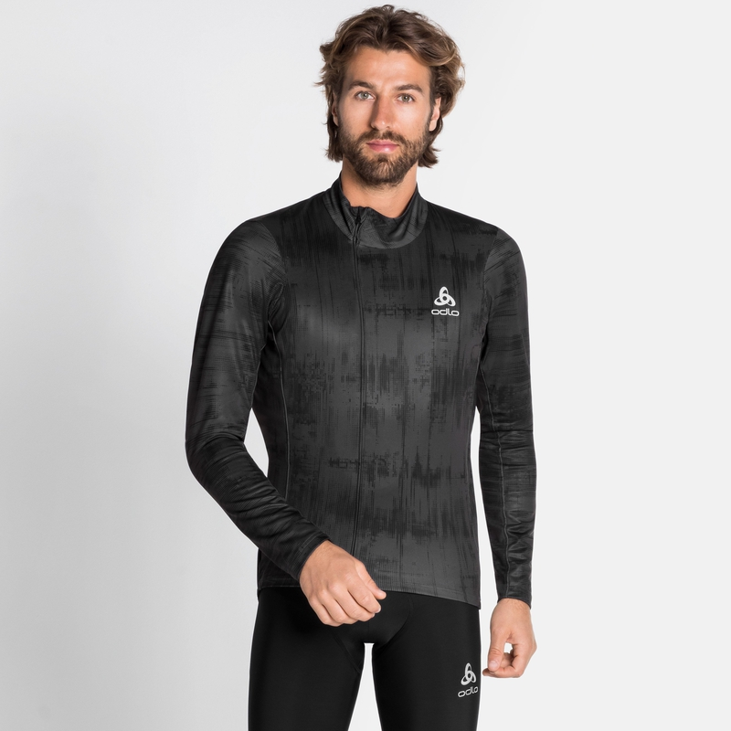 Men's ZEROWEIGHT CERAMIWARM Cycling Mid Layer, odlo graphite grey - black, large