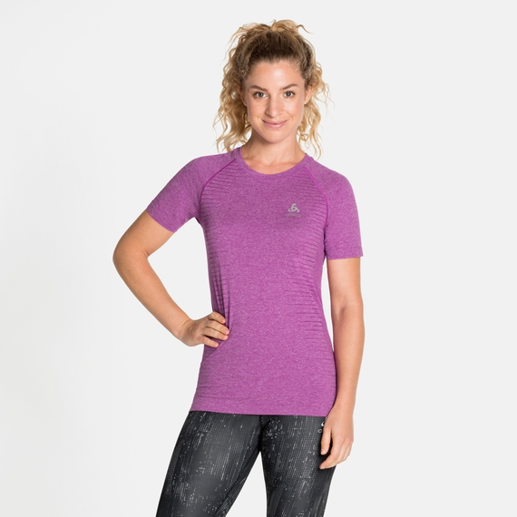 SEAMLESS ELEMENT-T-shirt voor dames, hyacinth violet melange, large