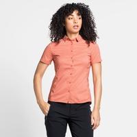 Chemise à manches courtes KUMANO CHECK pour femme, burnt sienna - peach pie, large