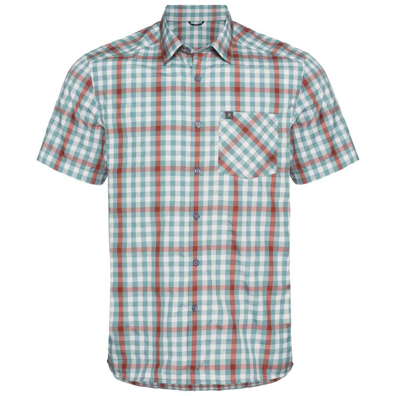 Shirt k/m MYTHEN, snow white - arctic - chili oil - check, large