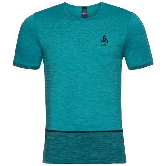 SEAMLESS KAMILERO running Shirt men, lake blue - black, large