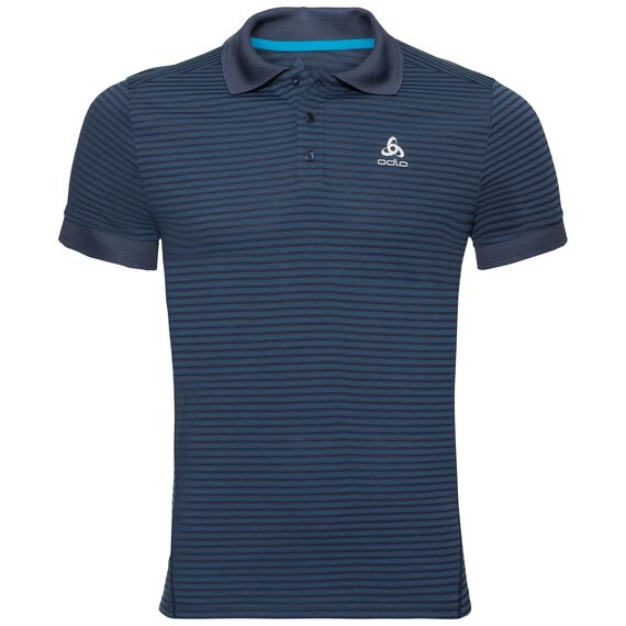Polo s/s NIKKO DRY, diving navy - energy blue - stripes, large