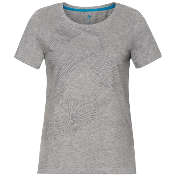 BL Top Crew neck s/s Core, grey melange - placed print FW18, large