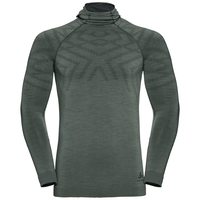 Men's NATURAL + KINSHIP WARM Base Layer Top with Face Mask, agave green melange, large