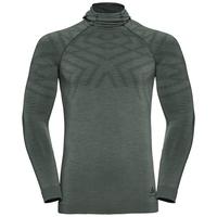Sous-vêtement technique T-shirt manches longues à cagoule NATURAL + KINSHIP WARM pour homme, agave green melange, large
