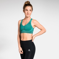 Women's SEAMLESS HIGH Sports Bra, pool green melange, large