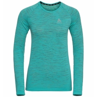 Women's BLACKCOMB CERAMICOOL Long-Sleeve Running T-Shirt, jaded - space dye, large