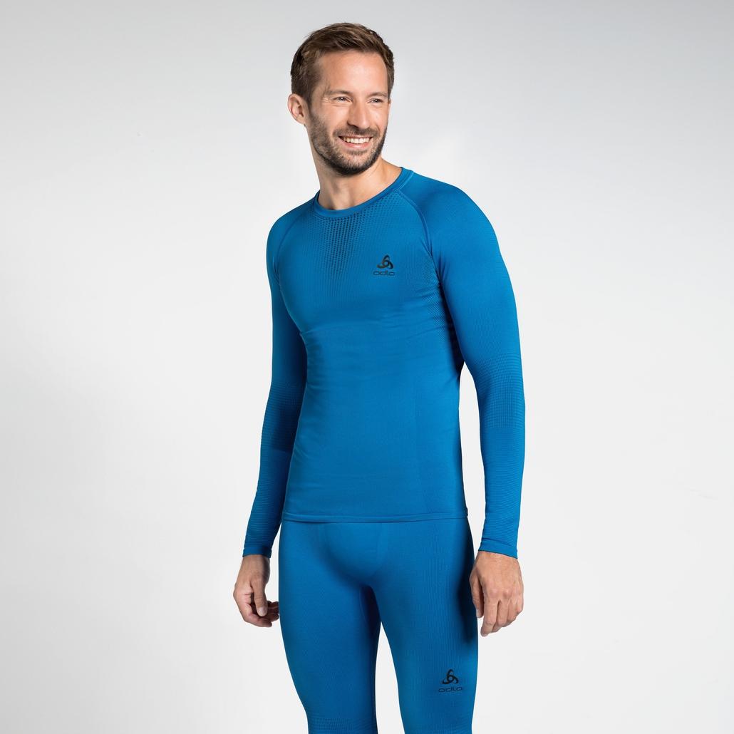 Herren PERFORMANCE WARM Funktionsunterwäsche Langarm-Shirt, directoire blue - black, large