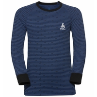 Maglia Base Layer a manica lunga ACTIVE WARM KIDS per bambini, black - estate blue, large
