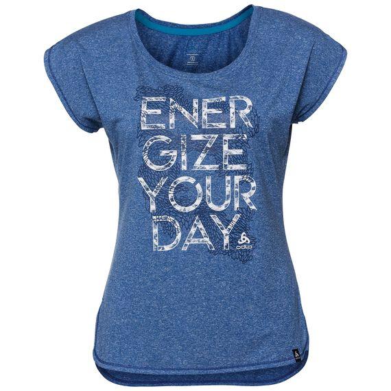 T-shirt s/s HELLE, energy blue melange - placed print SS18, large