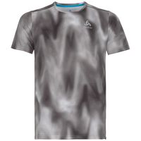 BL Top Crew neck s/s AION PRINT, odlo concrete grey - black - AOP FW18, large
