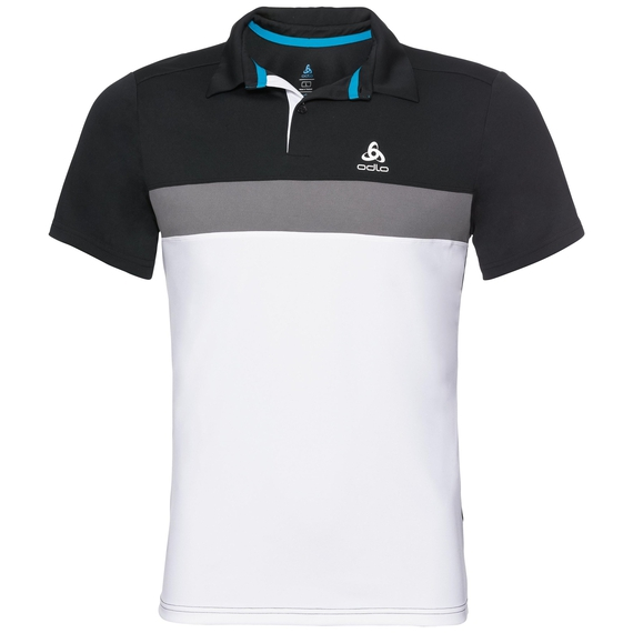 KUMANO LIGHT Poloshirt, black - odlo steel grey - white, large