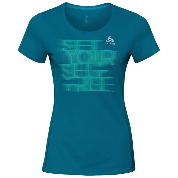 BL TOP Crew neck s/s SLIQ Print, crystal teal - placed print SS18, large