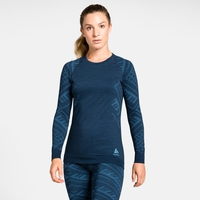 Maglia Base Layer a manica lunga NATURAL + KINSHIP WARM da donna, blue wing teal melange, large