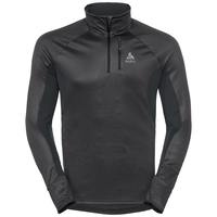 Pull ½ zippé BLAZE CERAMIWARM pour homme, black - odlo graphite grey - stripes, large