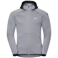 Hoody midlayer full zip SIMON, grey melange, large