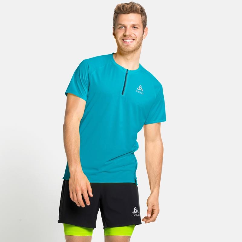 AXALP TRAIL-hardloop-T-shirt met halve rits voor heren, horizon blue, large