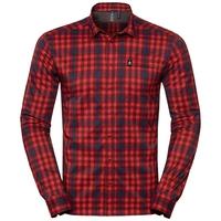 Men's FAIRVIEW Long-Sleeve Shirt, fiery red - poseidon - syrah - check, large
