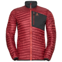 HELIUM COCOON Midlayer men, red dahlia - odlo graphite grey, large