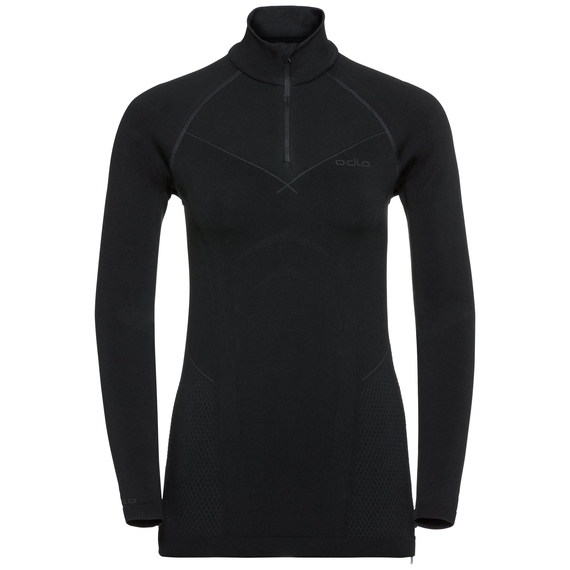 EVOLUTION WARM baselayer shirt half-zip, black - odlo graphite grey, large