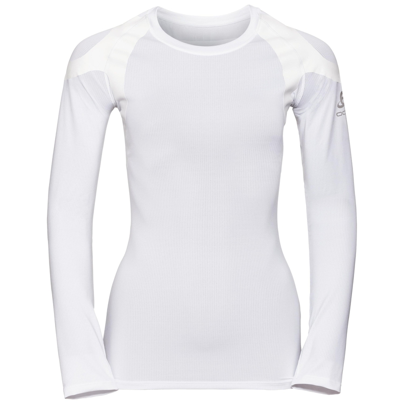 Women's ACTIVE SPINE LIGHT Long Sleeve Base Layer Top, white, large