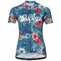 Women's ELEMENT Short-Sleeve Cycling Jersey, diving navy - Flower print, large