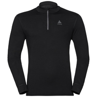 Men's NATURAL 100% MERINO WARM 1/2 Zip Turtle-Neck Base Layer Top, black - black, large