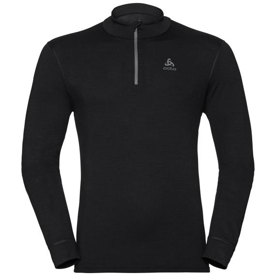 Men's NATURAL 100% MERINO WARM 1/2 Zip Turtle-Neck Baselayer Top, black - black, large