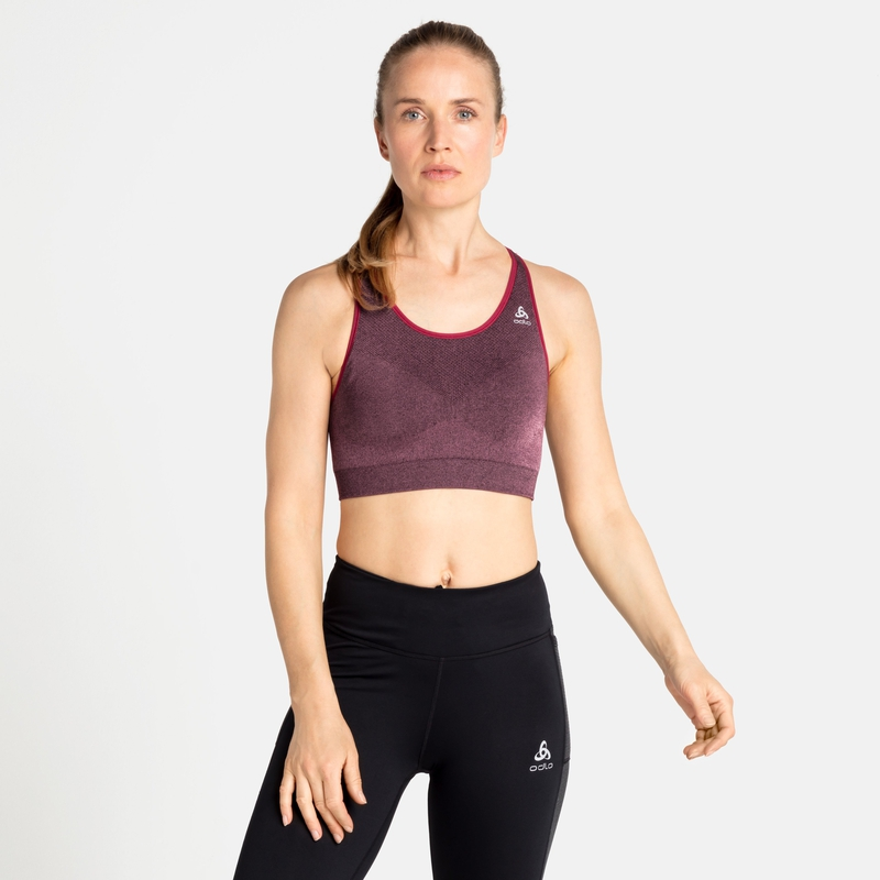 Women's SEAMLESS MEDIUM CERAMICOOL Sports Bra, deep claret melange, large
