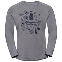T-shirt à manches longues CONCORD pour homme, grey melange - great outdoors print SS19, large