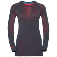 Women's PERFORMANCE WARM Long-Sleeve Base Layer Top, odyssey gray - diva pink, large