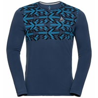 NILLIAN-T-shirt met lange mouwen voor heren, estate blue - graphic FW20, large