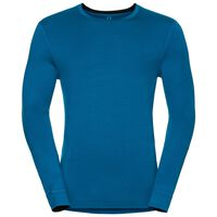 Natural 100 Merino Warm baselayer shirt men, mykonos blue - black, large