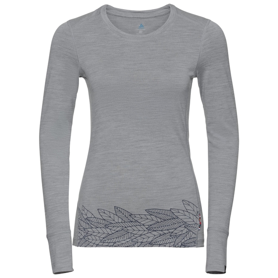 ALLIANCE Baselayer, grey melange - leaves on waist print SS19, large