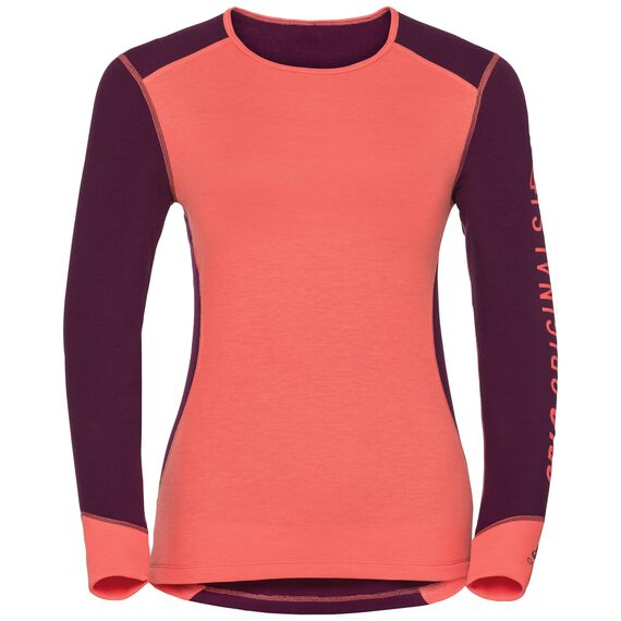 Revelstoke Warm baselayer shirt women, pickled beet - hot coral, large