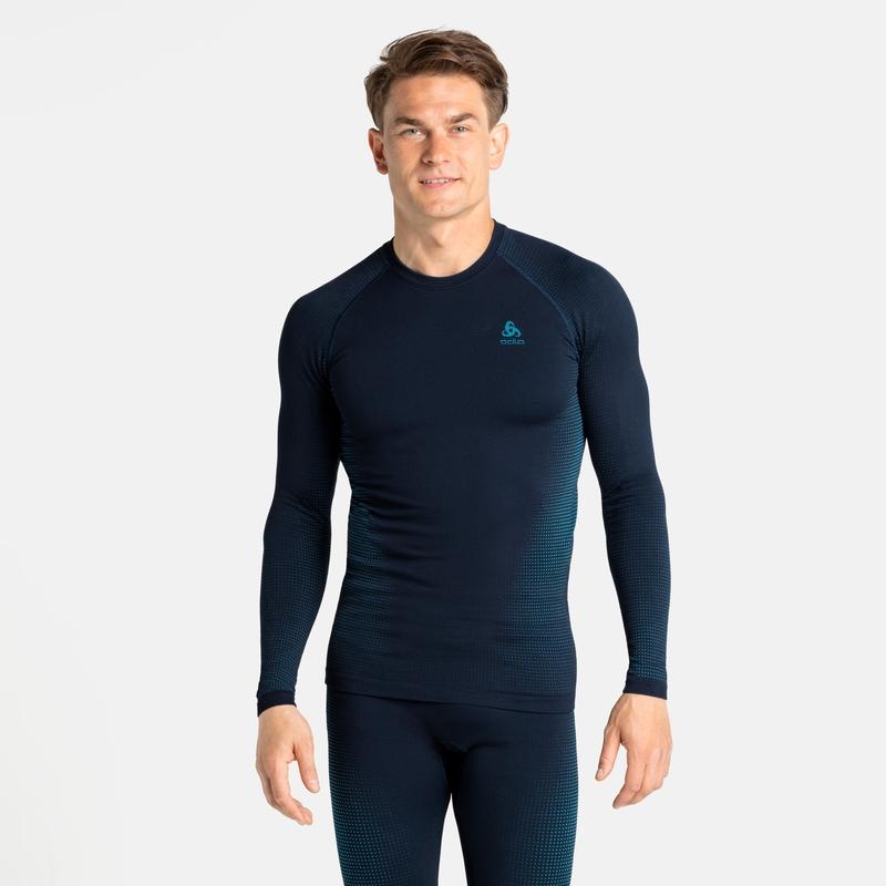 Men's PERFORMANCE WARM ECO Long-Sleeve Base Layer Top, dark sapphire - stunning blue, large