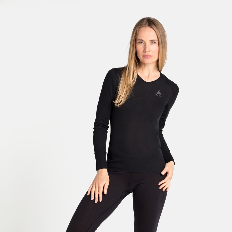 Damen ACTIVE WARM ECO Base Layer Oberteil mit V-Ausschnitt, black, large