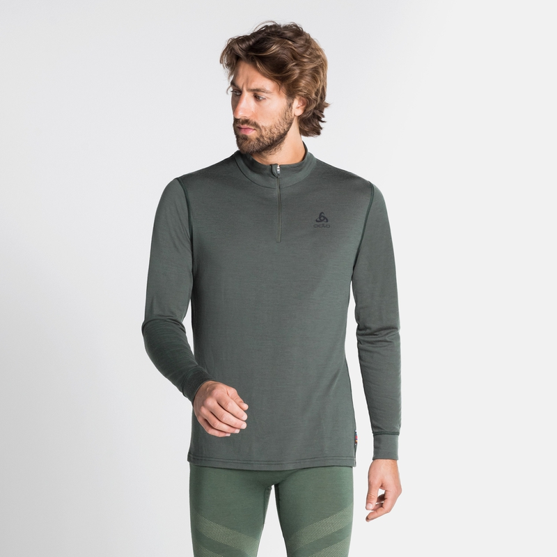 Men's NATURAL 100% MERINO WARM 1/2 Zip Turtle-Neck Base Layer Top, climbing ivy, large