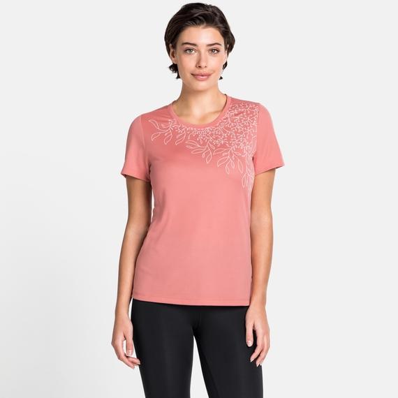Damen F-DRY T-Shirt, lantana - leaf print SS20, large