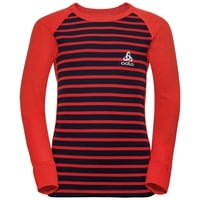 ACTIVE WARM KIDS Funktionsunterwäsche Langarm-Shirt, poinciana - diving navy - stripes, large