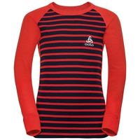 ACTIVE WARM KIDS Long-Sleeve Base Layer Top, poinciana - diving navy - stripes, large