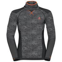 Shirt l/s with Facemask Blackcomb EVOLUTION WARM, black - odlo concrete grey - orangeade, large