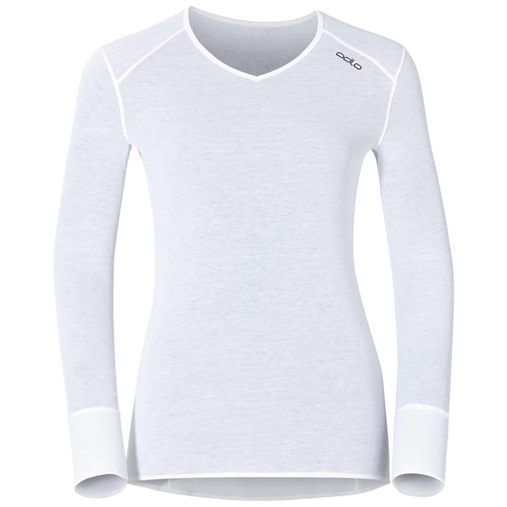 Women's ACTIVE WARM V-Neck Long-Sleeve Base Layer Top, white, large