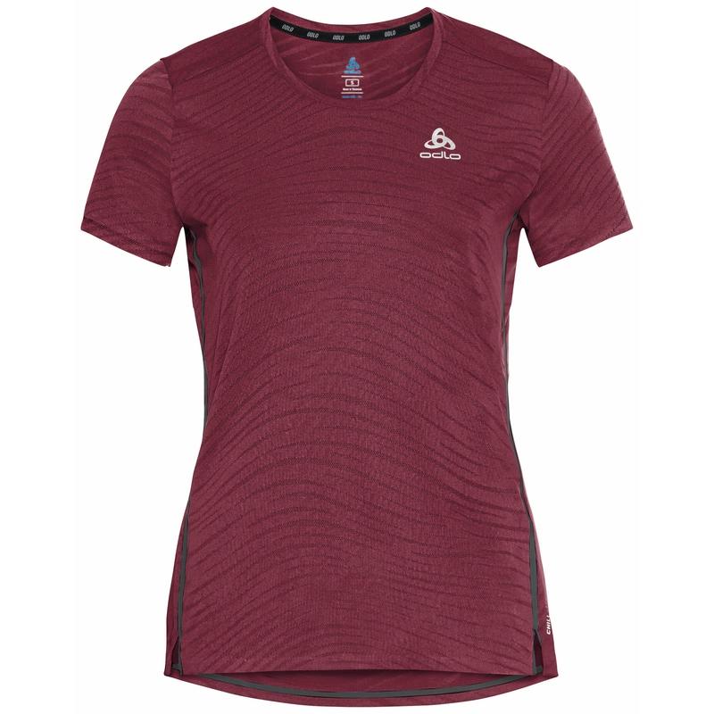 T-shirt de running ZEROWEIGHT ENGINEERED CHILL-TEC pour femme, deep claret melange, large
