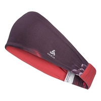 Headband TRAINING WIDE, plum perfect - flower AOP SS19, large