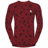 SUW Top Crew neck l/s ACTIVE ORIGINALS Warm GOD JUL PRINT, red dahlia - AOP FW18, large