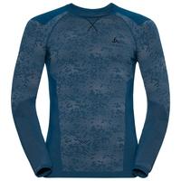 Shirt l/s crew neck Blackcomb EVOLUTION WARM, blue opal - black - black, large
